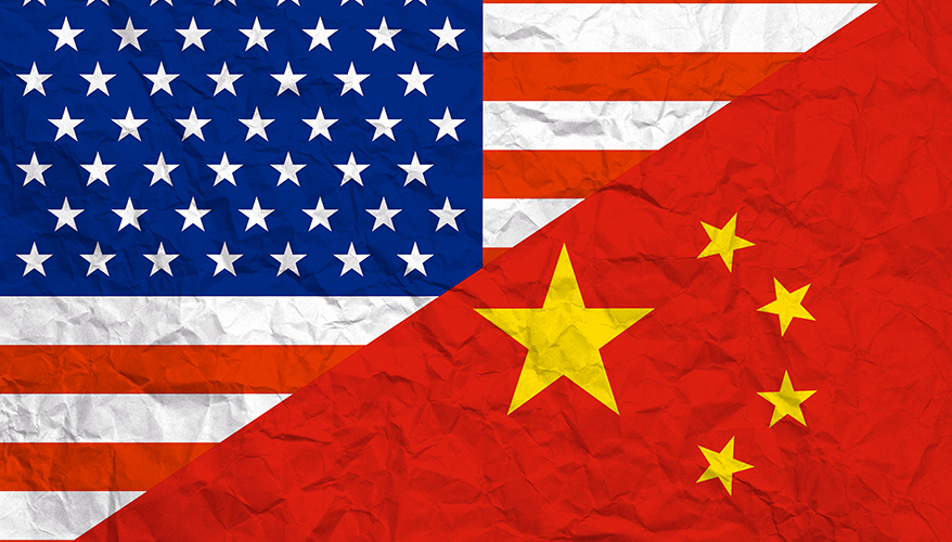 Relationship USA-China flags paper background